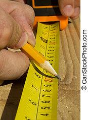 het meten, hout, arbeider