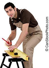 het meten, hout, man