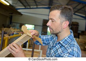 het meten, hout, timmerman