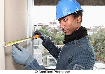 het meten, interieur, arbeider, muur, handleiding