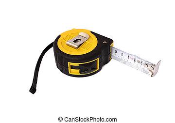 het meten, isolated., horizontaal, cassette, position.