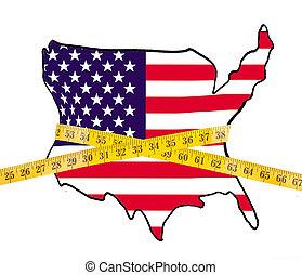 het meten, kaart, amerika, cassette, dieet