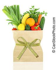 het meten, kruidenierswinkel, groentes, zak, papier, cassette, vruchten, fris