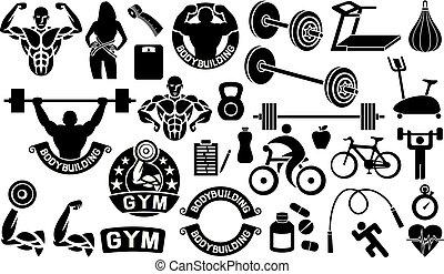 het meten, loper, pillen, set, hart, iconen, schalen, bike), appel, fitness, fietser, vrouw, gezondheid, stopwatch, tredmolen, cassette, sportsman, barbell, bodybuilding, oefening, (weightlifter