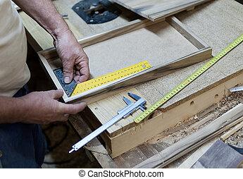 het meten, meetlatje, product, timmerman