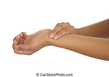 het meten, menselijke arm, pols, hand