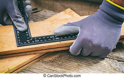 het meten, metaal, hoek, timmerman