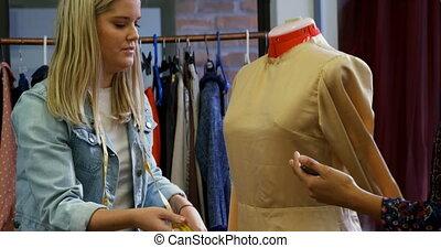 het meten, model, 4k, ontwerpers, mode, jurkje, dressmakers