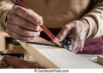 het meten, rood, timmerman, potlood, meetlatje, plank, metaal