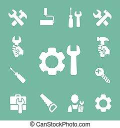 het meten, set, werkende , iconen, gereedschap, schroevendraaier, vrijstaand, vector, cassette, moersleutel, hamer