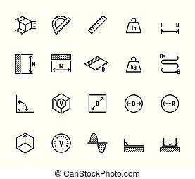 het meten, stijl, set, verwant, vector, dune lijn, pictogram