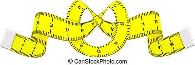 het meten van band, spotprent