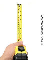 het meten van band, vasthouden, gele, hand