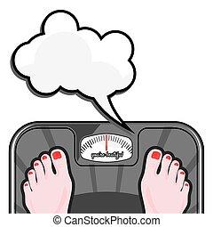 het meten, vrouw, haar, gewicht