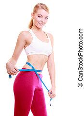 het meten, vrouw, haar, passen, fitness, cassette, diet.,...