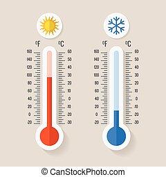 het meten, weerkunde, thermometers, celsius, illustratie,...