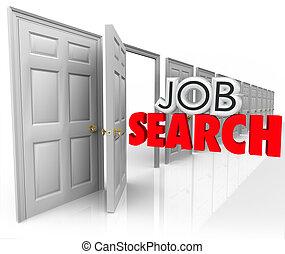 het onderzoek van de baan, open deur, nieuw, carrière, gelegenheid, 3d, woorden