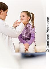 het onderzoeken, arts, wond, vrouwelijk kind, keel