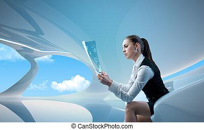het onderzoeken, businesswoman, /, rapport, toekomst,...
