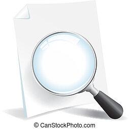 het onderzoeken, een, document