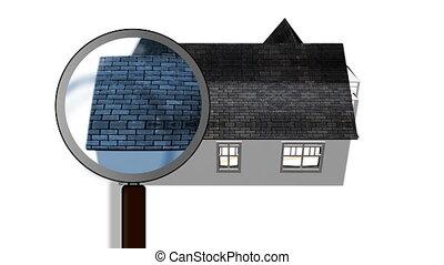 het onderzoeken, een, house., architectuur, en, huis...