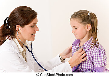 het onderzoeken, kind, stethoscope, vrouwtje arts