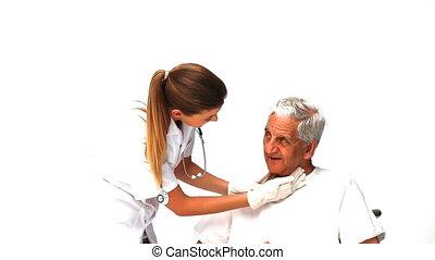 het onderzoeken, verpleegkundige, mannelijke , patiënt, haar