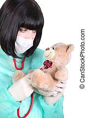 het onderzoeken, verpleegkundige, stethoscope, beer, teddy