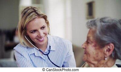 het onderzoeken, vrouw, bezoeker, stethoscope, gezondheid,...
