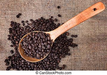 het ontslaan, koffie, houten, velen, lepel, close-up., beans.