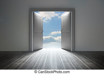 het openbaren, blauwe deuropening, hemel, helder
