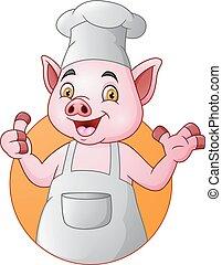 het opgeven, varken, kok, duimen, spotprent