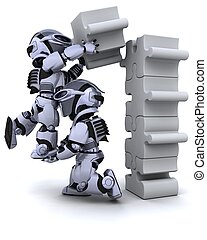 het oplossen, raadsel, jigsaw, robot