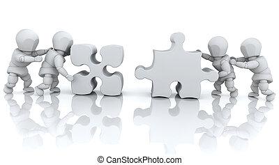 het oplossen, raadsel, jigsaw