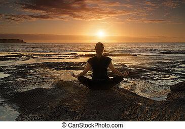 het peinzen, yoga, of, zee