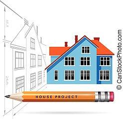 het pictogram van het huis, en, tekening, met, een, potlood