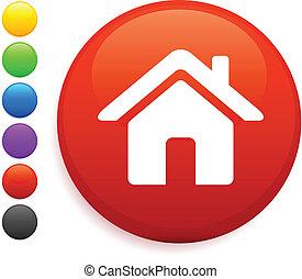 het pictogram van het huis, op, ronde, internet, knoop