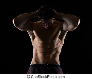 het poseren, atleet, mannelijke , black , sterke