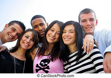 het poseren, groep, jonge, foto, mensen