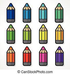 het potlood van de kleur, set, vector, illustratie