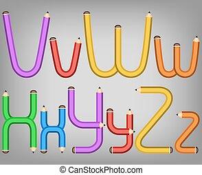 het potlood van de kleur, stijl, alfabet