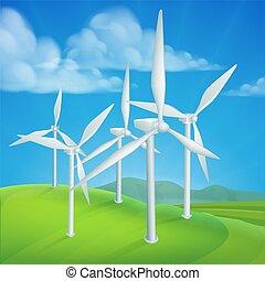 het produceren van macht, elektriciteit, energie, turbines, wind