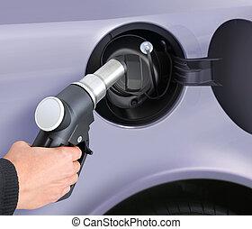 het putten, gas, in, de, auto