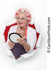 het putten, vrouw, oud, lippenstift, walzen