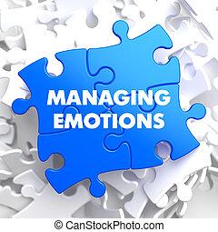het regelen, blauwe , puzzle., emoties
