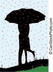 het regenen, hartjes