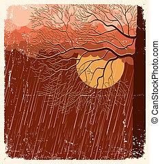 het regenen, oud, natuur, boompje, illustratie, evening.vector, papier, achtergrond, landscape