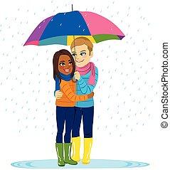 het regenen, paar, romantische