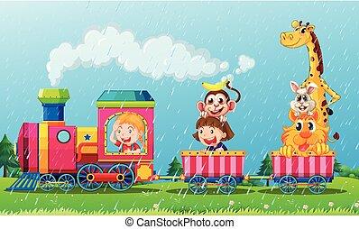 het regenen, scène, met, dieren, op, de, trein