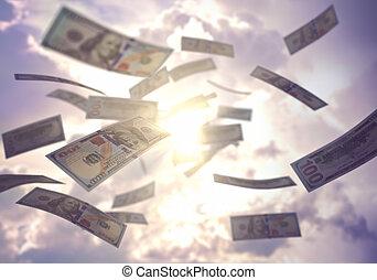 het regenen, zakelijk, succes, dollar, ons, amerikaan